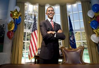 A wax likeness of President Barack Obama is displayed at the