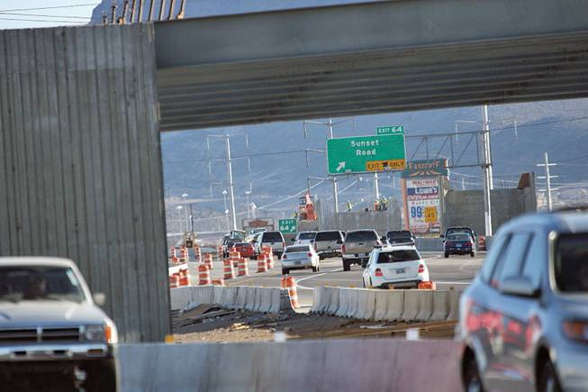 Construction continues Tuesday on the Interstate 515 Galleria Mall Interchange at U.S. 95 and Sunset Road.