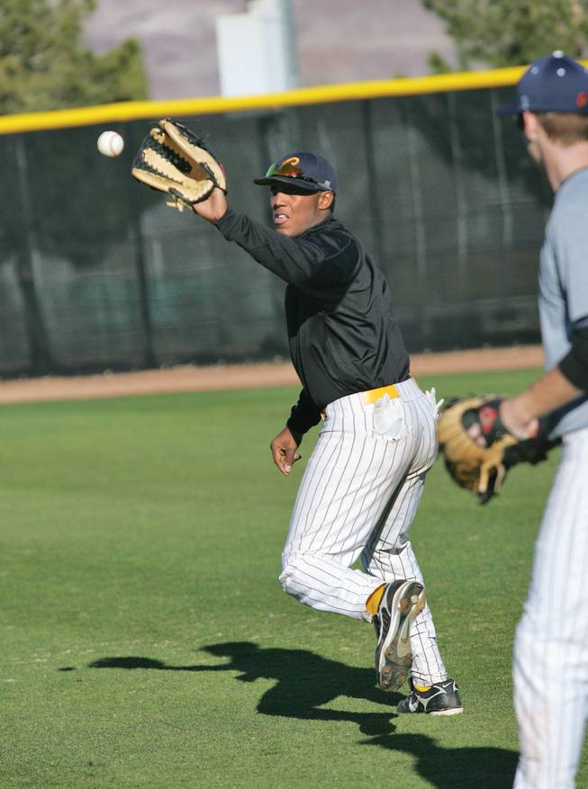 CSN freshman Marvin Campbell practices at CSN's Morse Stadium in Henderson.