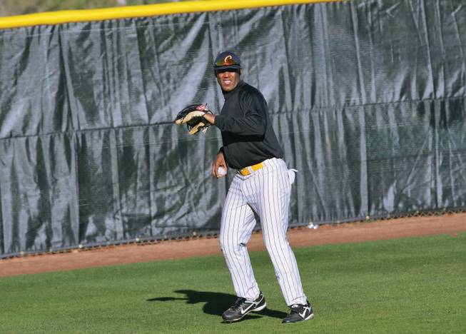 College of Southern Nevada outfielder Marvin Campbell practices at CSN's Morse Stadium in Henderson.