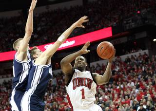 Wink Adams takes it up against BYU at the Thomas & Mack Center on Feb. 21, 2009. UNLV pulled off the season sweep of the Cougars with a 75-74 win.