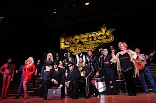 After taking a final cast picture, celebrity impersonators in Legends in Concert parade from Imperial Palace, where the show has resided for 25 years, to its new home at neighboring Las Vegas Strip casino, Harrahs, on Monday, Feb. 23, 2009.