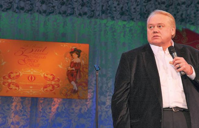 Comedian Louie Anderson entertained the audience in February 2009 attending the Children's Miracle Mardi Gras Ball in the Bellagio Ballroom.