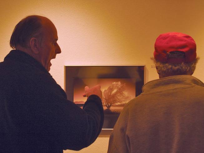 "Ralph Hutchersib, left, and Michael Schweneig talk about the photo ""Wind Gusts to 30"" by Rick Holmes at the Nevada Camera Club's Juried 2009 show."