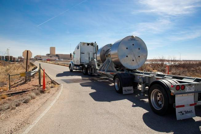 This Feb. 27, 2009, photo courtesy of the U.S. Department of Energy's Carlsbad Field Office shows the arrival of the first remote-handeled transuranic waste at the Waste Isolation Pilot Plant near Carlsbad, N.M. The waste, sent from Oak Ridge Reservation in Tennessee, is so radioactive it must be handled by robotic machines.