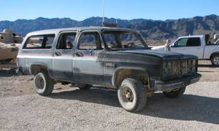 Gutted, remote-controlled SUVs such as this were used at Nellis' testing grounds to develop new systems to allow fighter pilots to effectively strike moving vehicles.