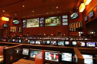 The sports book at the M Resort on Sunday before doors were opened to the public.