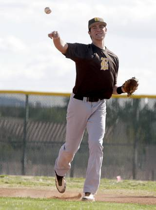 Bonanza High School baseball player Kris Bryant throws the ball during practice at the school Tuesday, March 2, 2010.