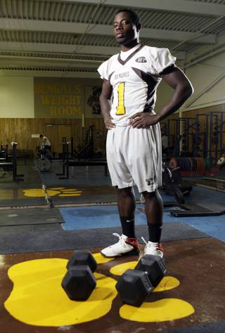 Bonanza High School football player DaSean Martin poses in the Bengals weight room Tuesday, March 2, 2010.