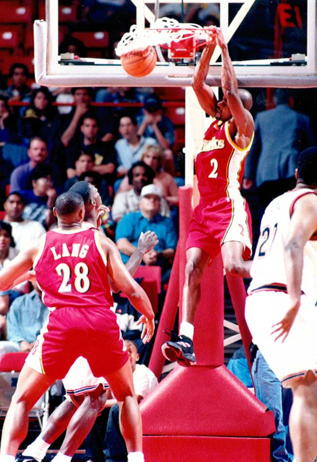 Stacey Augmon during his time with the Atlanta Hawks. Augmon went on to get drafted in the first round of the NBA drafted after helping take the Rebels to two straight Final Four appearances.