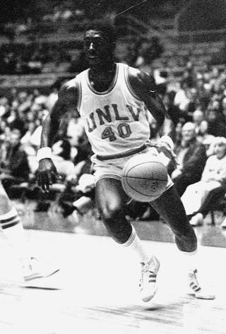 Ricky Sobers drives to the basket. Sobers is one of the first Rebels to gain national prominence in the basketball ranks.