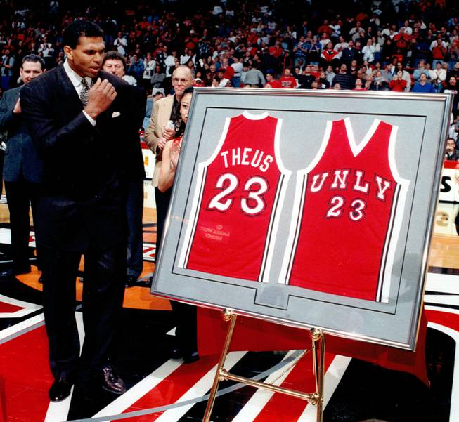 "Reggie Theus during his jersey retirement ceremony at the Thomas & Mack Center in 1997. Theus and ""Hardway Eight"" teammate Glen ""Gondo"" Gondrezick both had their jerseys retired on the same night."
