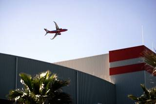 A Southwest Airlines airplane, taking off from McCarran International Airport, flies over the UNLV campus on Thursday, March 5, 2009.
