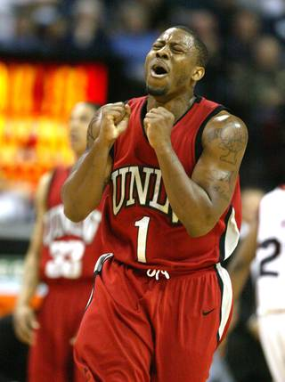 UNLV guard Wink Adams reacts to picking up a foul in their game against San Diego State at the Mountain West Conference basketball championships Thursday.  San Diego State won the game 71-57.