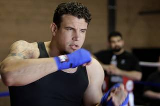 UFC heavyweight fighter and Las Vegas resident Frank Mir shadow boxes during an open workout at his gym Friday, March 12, 2010.  Mir, a former Bonanza High School wrestler, is scheduled to face Shane Carwin for an interim heavyweight championship on March 27 at UFC 111 in New Jersey.