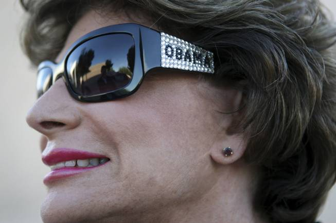 Rep. Shelley Berkley, D-Nev., shows her support in October during the presidential campaign with a pair of sunglasses she says were a gift from the House speaker.