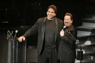 Terry Fator introduces Lou Ferrigno during his opening night Saturday at The Mirage.