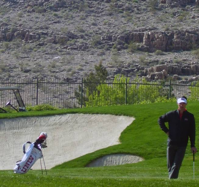UNLV's Johnny Pinjuv lines up a shot during the final round of the Southern Highlands Collegiate Championship. The Rebels won the tourney for the second straight year.