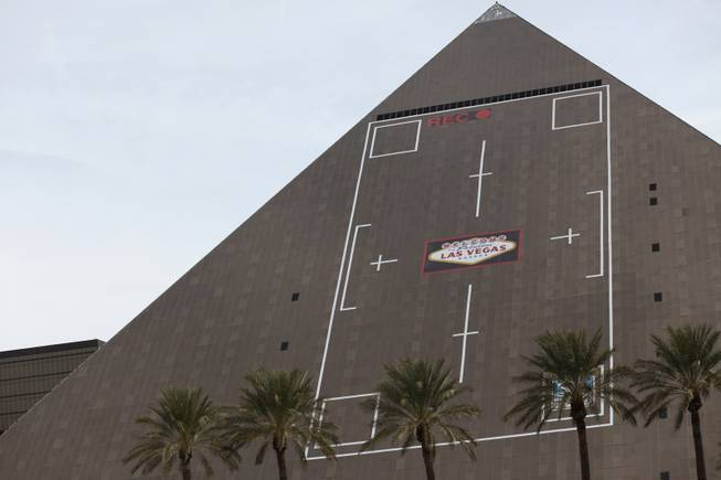 "The new ad on the side of the Luxor, designed by Sky Tag, a building-wrap design firm, is modeled after a camera screen, with a recording light at the top and the ""Welcome to Fabulous Las Vegas"" sign focused in the center of the frame. The ads are featured on both the west and south sides of the pyramid."