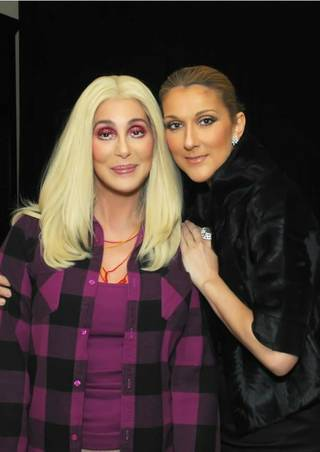 Cher and Celine Dion in Cher's dressing room at The Colosseum in Caesars Palace.