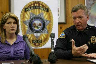 Boulder City Police Detective Michelle Isham, left, and Chief Thomas Finn said police are expecting tonight to file eight additional charges against Charles Richard