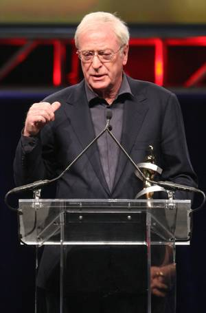 Michael Caine, recipient of the Lifetime Achievement Award, speaks during the ShoWest Awards at Paris Las Vegas on April 2, 2009.