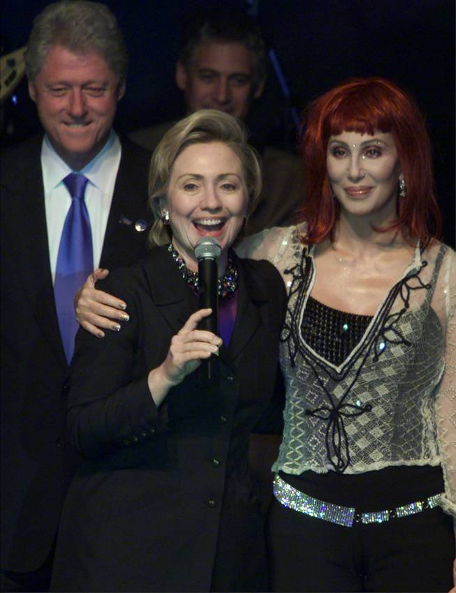 Hillary Rodham Clinton speaks during a gala celebration for her birthday Wednesday, Oct. 25, 2000, in New York as President Clinton and Cher join her onstage.