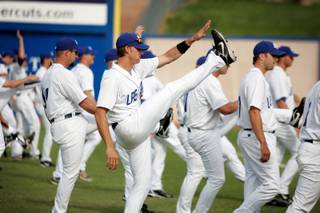 The Las Vegas 51s warm up before practice during media day at Cashman Field in Las Vegas on Tuesday, April 7, 2009.