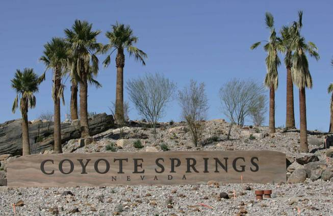 Coyote Springs is a planned city in Lincoln and Clark counties near the junction of U.S. Highway 93 and State Highway 168, about 50 miles north of Las Vegas.
