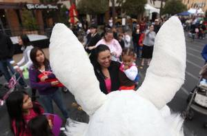 Visitors to Town Square in Las Vegas greeted the Easter Bunny on Saturday morning. Town Square had games, booths and more than 35,000 eggs to be collected.