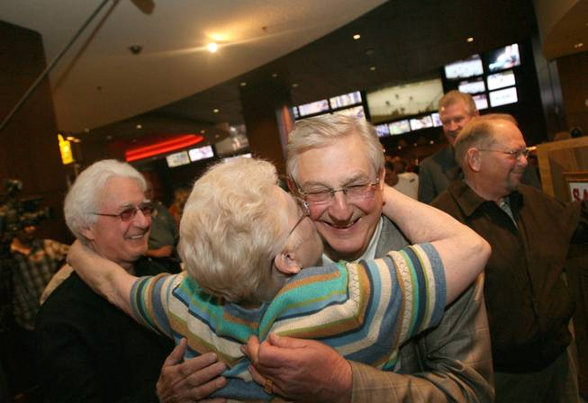 Bill Boyd, executive chairman of Sam's Town, is greeted by Barbara Gugliucci, a customer of 27 years during the hotel's anniversary April 11, 2009.