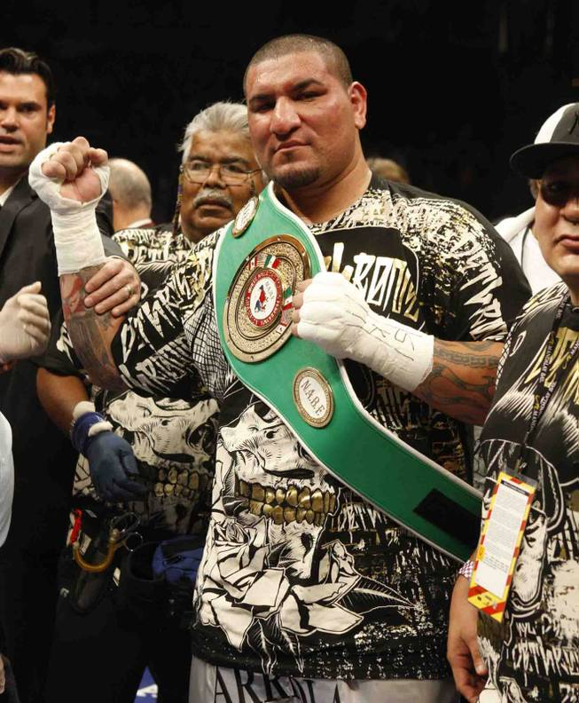 Boxer Chris Arreola celebrates his fourth-round KO victory over Jameel McCline during a heavyweight title fight at the Mandalay Bay Events Center April 11, 2009.
