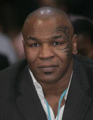 Former heavyweight boxer Mike Tyson attends the Winky Wright-Paul Williams fight at the Mandalay Bay Events Center.