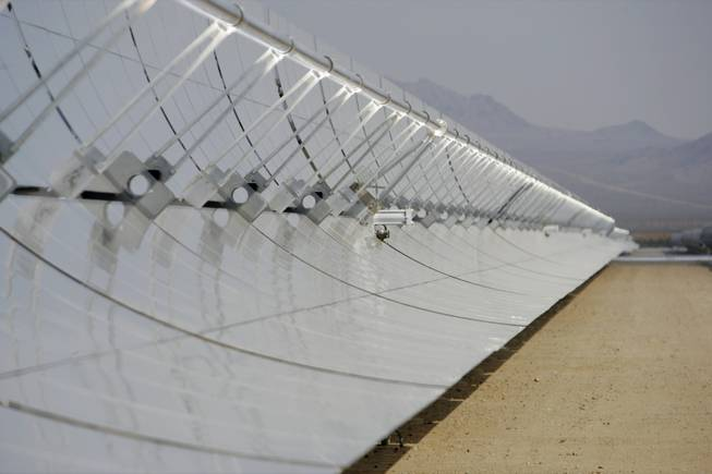 This solar field is part of the Nevada Solar One 64-megawatt solar thermal power plant in Boulder City's Eldorado Valley Energy Zone.