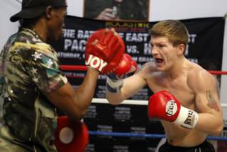 Light welterweight boxer Ricky Hatton, right, of England works on his timing with trainer Floyd Mayweather Sr. during a media workout in Las Vegas, Nevada Thursday, April 16, 2009. Hatton will face Manny Pacquiao of the Philippines at the MGM Grand Garden Arena in Las Vegas on May 2.