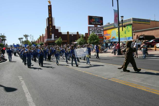 Members of the Burkholder Middle School band perform during the Heritage Parade on Water Street.