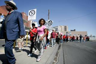 Protesters leave from the starting point near Audrie Street and East Flamingo Road during a rally and march down the Las Vegas Strip to protest the closure of F Street in Las Vegas Saturday, April 18, 2009.