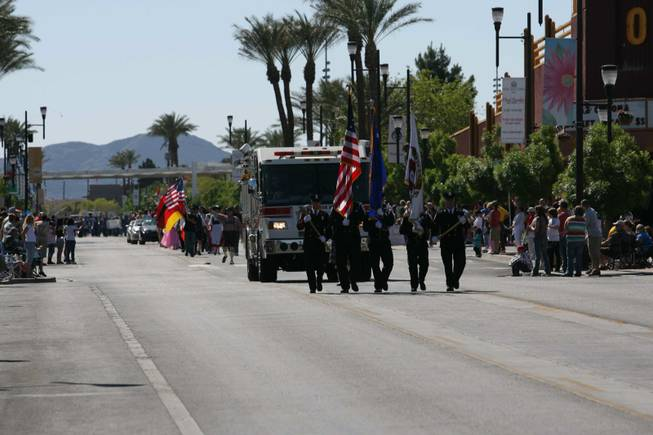 The Henderson Fire Department parades during Henderson's annual Heritage Parade on Water Street.
