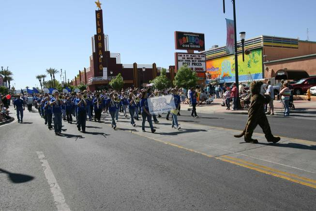 Members of the Burkholder Middle school band perform during Henderson's annual Heritage Parade on Water Street.
