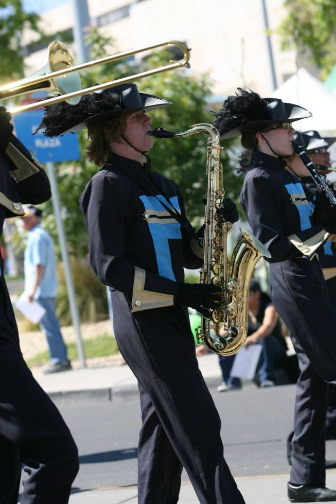 Members of the Basic High marching band perform during Henderson's annual Heritage Parade On Water Street.