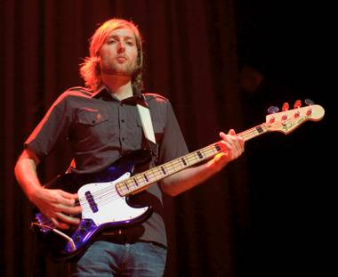 Bassist Mark Stoermer of the Killers performs at the House of Blues inside Mandalay Bay Sunday, September 19, 2004.
