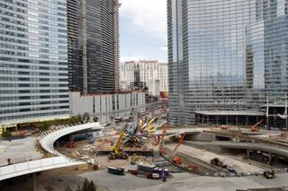 A view of a sculpture by Nancy Rubins being installed at MGM Mirage's City Center project Thursday.