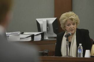 Carolyn Goodman, president and founder of the Meadows School and wife of Las Vegas Mayor Oscar Goodman, testifies on behalf of Meadows Headmaster Henry Chanin during a trial in District Court Monday, April 26, 2010. Chanin is suing drug companies in the first trial linked to the hepatitis C outbreak in the Las Vegas Valley.