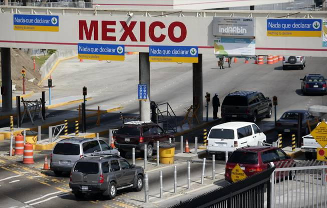 Vehicle traffic crosses from the U.S. into Mexico at the San Ysidro Port of Entry in San Diego County.