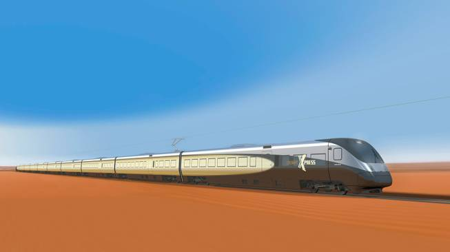 The fully electric DesertXpress trains would reach top speeds of 150 mph and travel 184 miles from Victorville, Calif., to Las Vegas in 84 minutes.