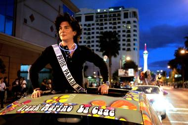 Local performer Frank Marino acts as the Grand Marshal on Friday during the Gay Pride Parade in downtown Las Vegas.