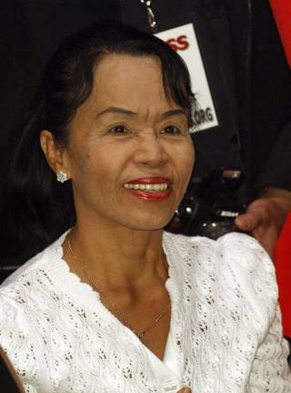 Manny Pacquiao's mother, Dionisia Pacquiao, traveled to the United States for the first time Monday to be with here son for his megafight against Ricky Hatton Saturday night at the MGM Grand.