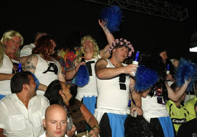 "A group of British boxing fans called the ""beer-leaders,"" dressed up in cheer-leading outfits to show their support for Ricky Hatton Saturday night at the MGM Grand."