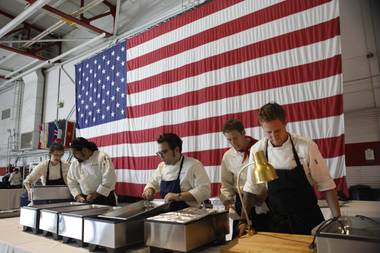 It was sink or swim on the third episode of Top Chef as the chefs made meals for the masses at Nellis Air Force Base.