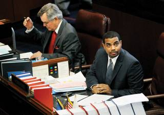 Majority Leader Steven Horsford, D-Las Vegas, shown during a Senate floor session April 8, says,